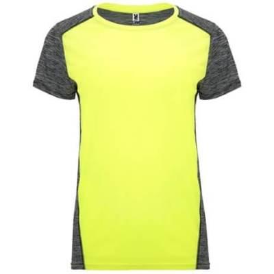 Camiseta técnica Zolder mujer amarillo flúor-negro